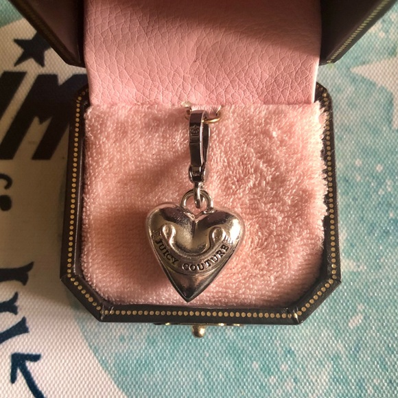 Juicy Couture Jewelry - Juicy Couture Silver Logo Large Heart Rare Charm ✨